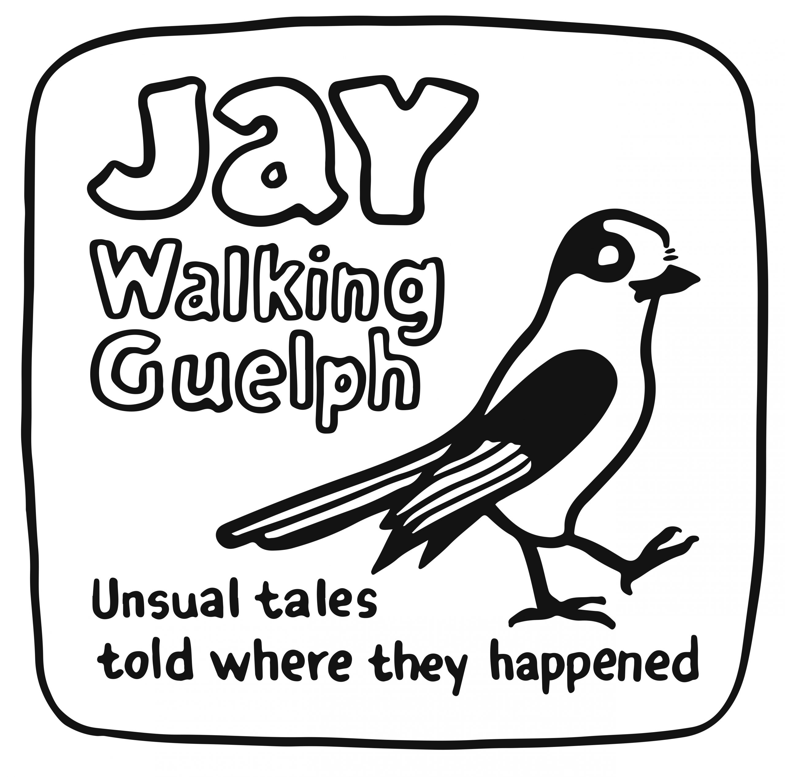 My initial concept sketch for the Jay Walking logo, showing a grey jay walking.