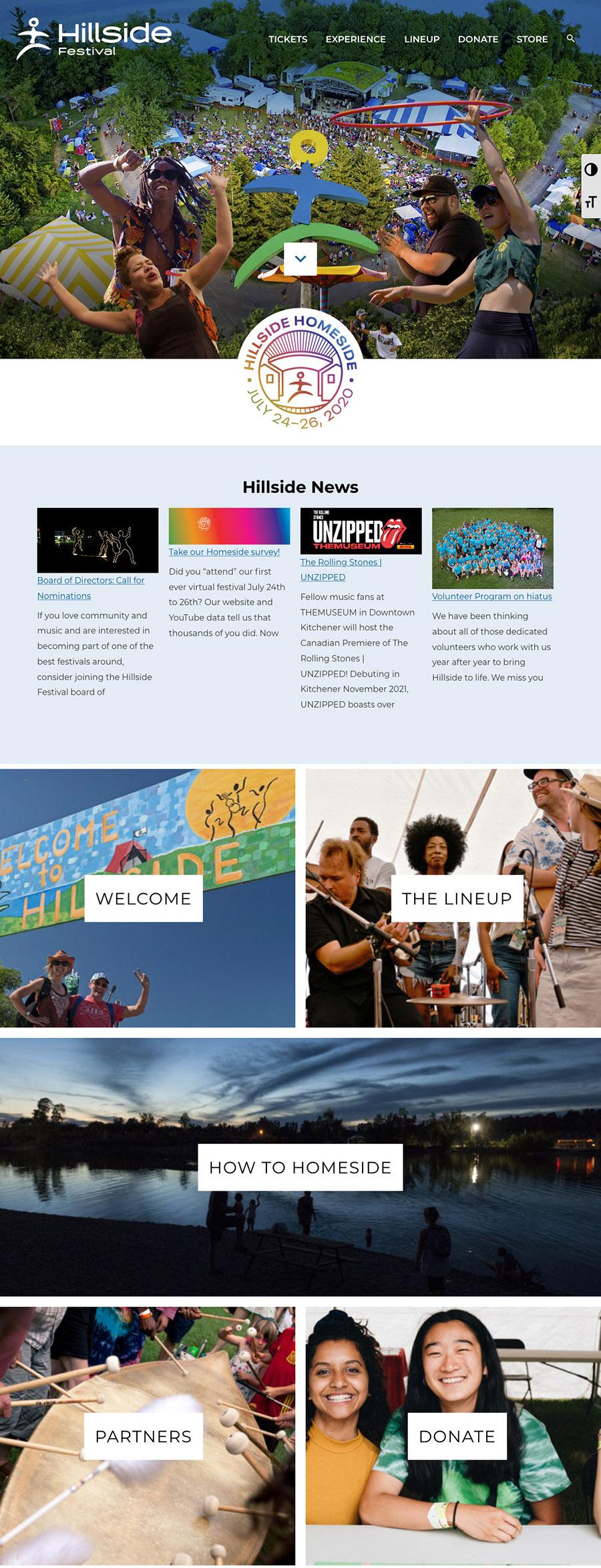 A screenshot of the Hillside website
