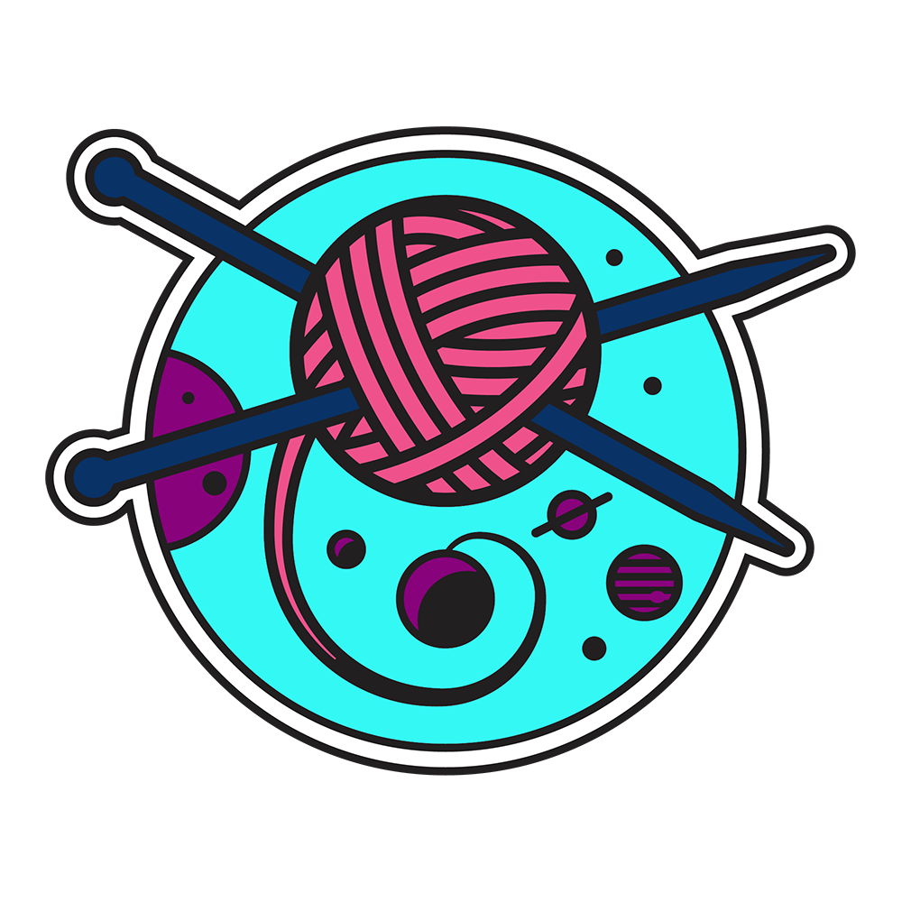 Logo for String Theory Yarn Shop, showing a ball of yarn as a satellite