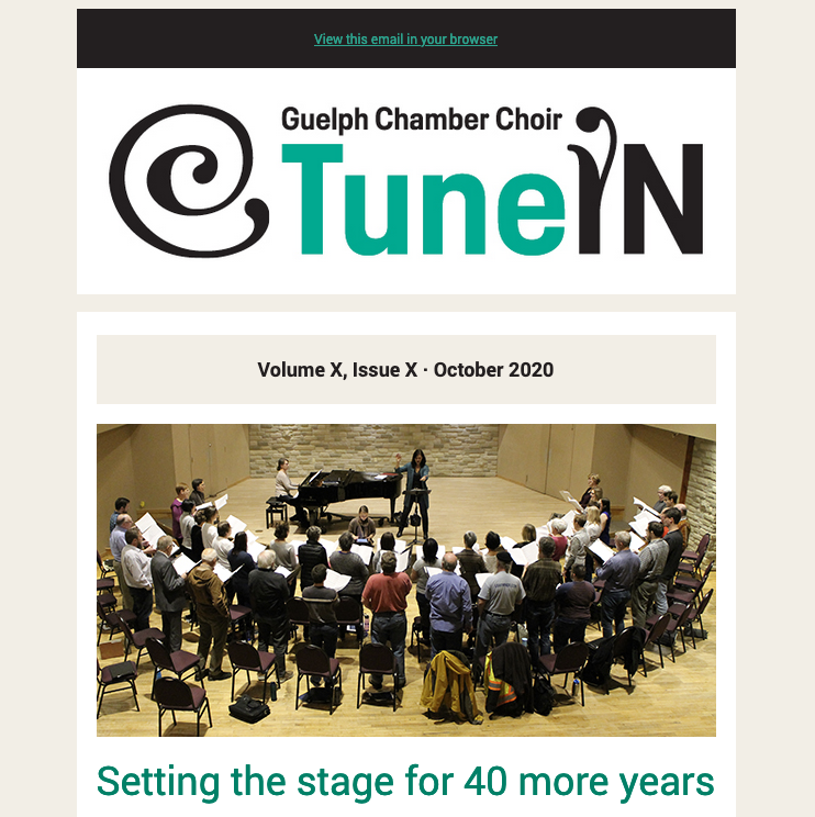 Screen capture of TuneIn, the GCC newsletter